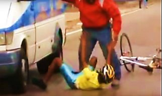 Coach punishing young cyclist in Egypt