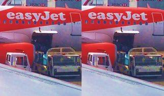 Baggage handlers hurl bike boxes from Easyjet plane