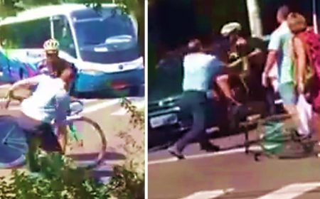 Bus driver attacks cyclist with iron bar in Brazil